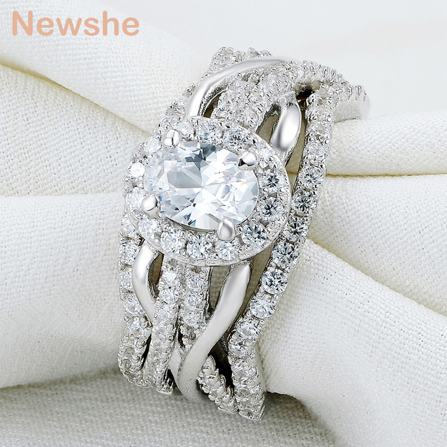 Newshe Oval Shape CZ 3 Pcs Solid 925 Sterling Silver Halo Wedding ...