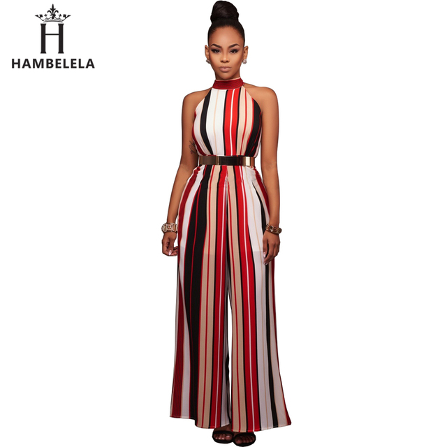 0286fec2a84 Hambelela Hot Sale Red Yellow Elegant Women Summer Sleeveless Long Jumpsuit  Stripe Maxi Romper One Piece Sexy Long Pant Jumpsuit free shipping worldwide