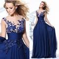 Moda Robe De Soiree Azul Quente Do Laço Da Flor Chiffon Longo Vestido de noite Mãe da Noiva Vestido Formal Banquete Elegante Prom