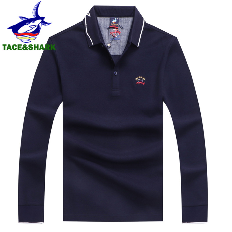 TACE&SHARK Brand Autumn Fashion   Polos   High Quality Embroidery Business Tops Men's Long Sleeve Camisa   Polo   Masculina Shirts Homme