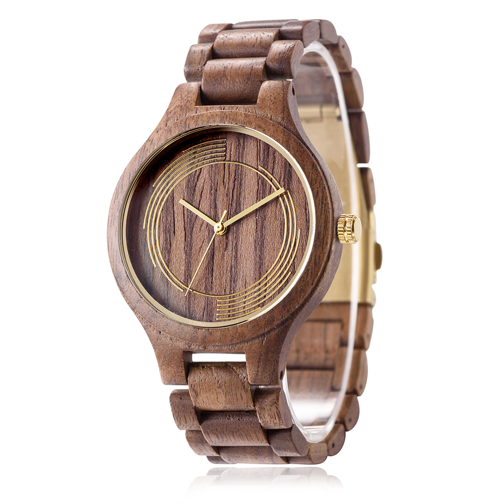 DWG Fashion Classic Movt Black Walnut Wood Watch Quartz Women Luxury Men Watch Solid Wooden Hand Clock Tree Strap with a box dwg analog luxury wood watch for women newest quartz watch maple walnut wooden wrist watch for girls orologi donna reloj mujer