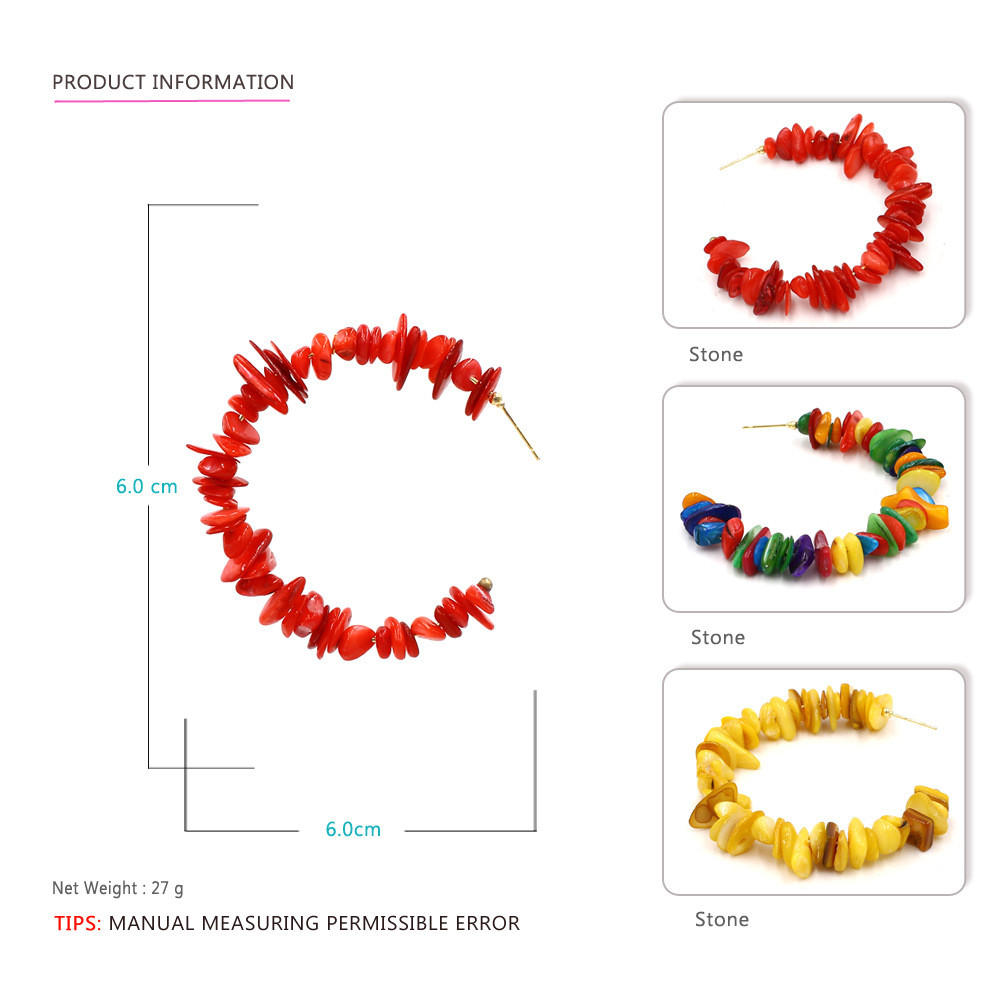 HTB1H4sOaQ5E3KVjSZFCq6zuzXXaH - Colorful Red Stone Big Round Circle Hoop Earrings Beach Party