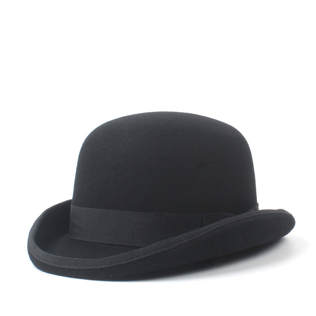4Size 100% Wool Women s Men s Black Bowler Hat Gentleman  CrushableTraditional Billycock Groom Hats 803a982fe39