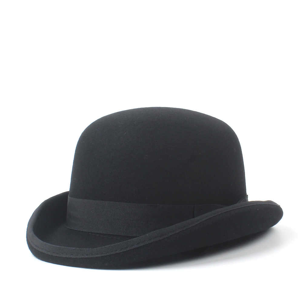 529f44795 4Size 100% Wool Women's Men's Black Bowler Hat Gentleman  CrushableTraditional Billycock Groom Hats