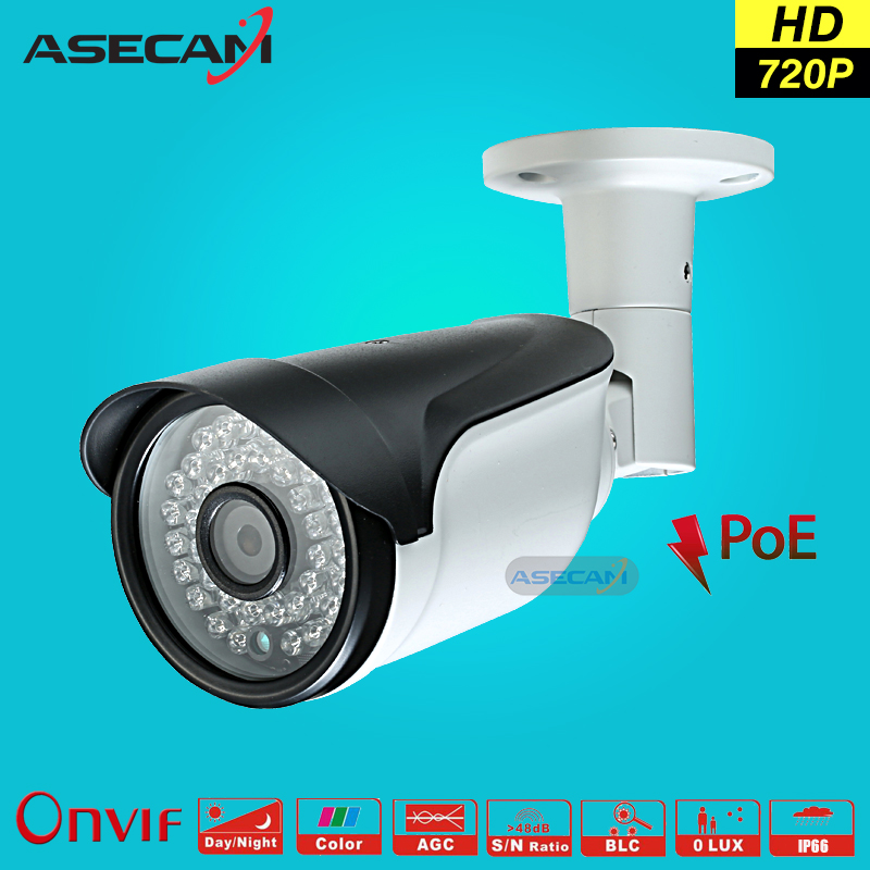 HD 1280*720P CCTV Infrared IP Camera 48V POE Black Bullet Metal Waterproof Outdoor Onvif WebCam Security 960p Surveillance p2p full hd poe camera 48v poe ip camera 720p ip camera poe outdoor bullet security camera onvif
