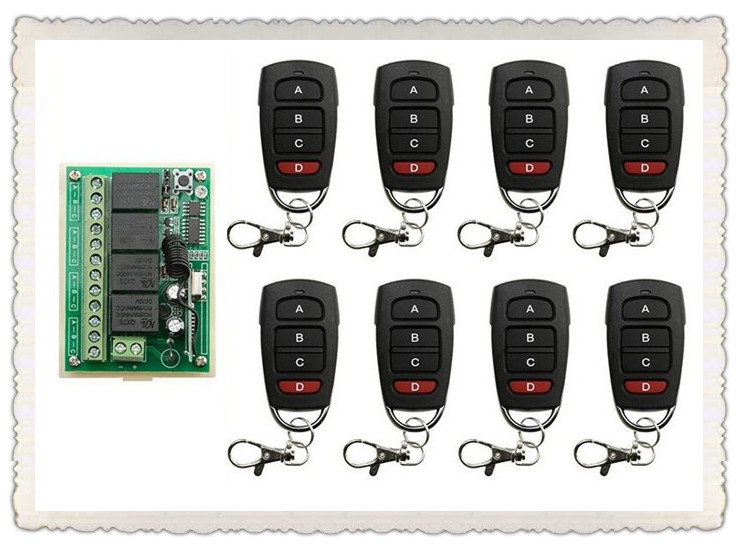 DC12V 4CH RF Wireless Remote Control System teleswitch 8* transmitter +1* receiver universal gate remote control /radio receiver dc12v 4ch wireless receiver