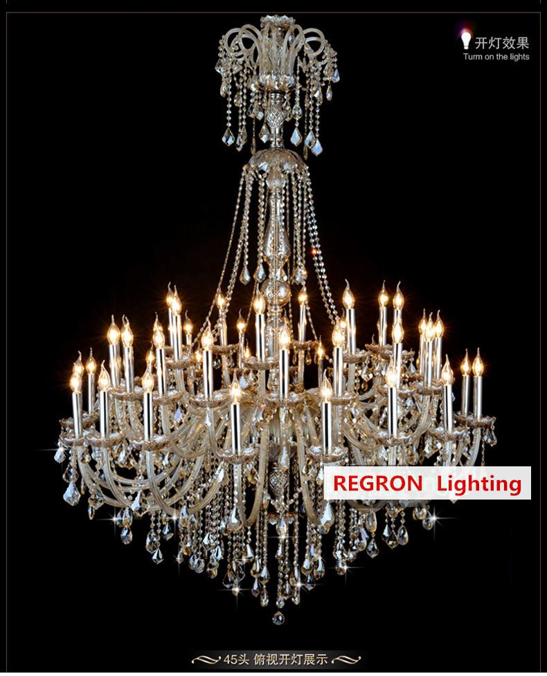 Church 24-45 pcs large cognac chandeliers crystal lighting led lustres de cristal hotel living room modern chandelier Pendientes