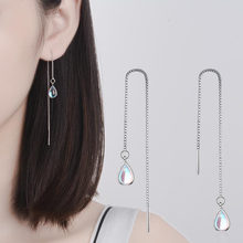Neue 925 Sterling Silber Lange Ohrring Mondstein Kette Ohrringe Für Frauen Weibliche korea Schmuck Neue Ohrringe Pendientes