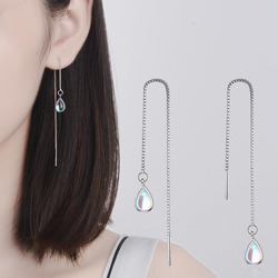 New 925 Sterling Silver Long Earring Moonstone Chain Earrings For Women Female korea Jewelry New Oorbellen Pendientes