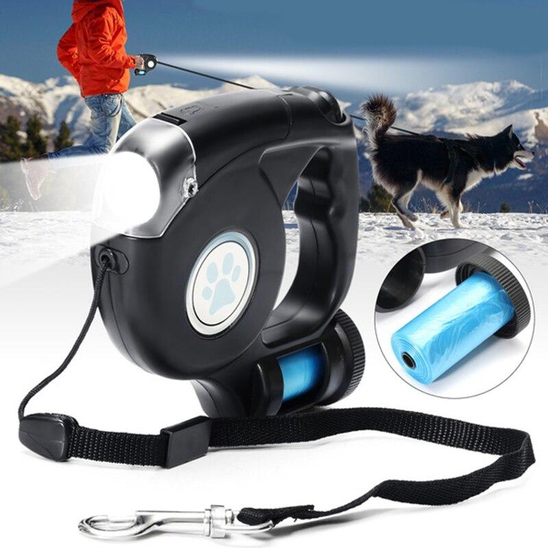 4,5 m LED linterna extensible retráctil para mascotas perro plomo con bolsa de basura