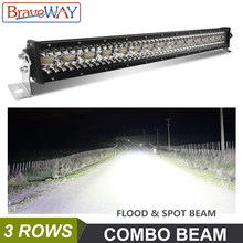BraveWay LED Light Bar Work Light for Off Road Tractor SAND RAILS Truck ATV SUV 4WD UAZ 4x4 Driving Light 12 V(China)