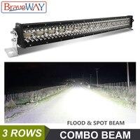 Braveway luz led para caminhão em barra  luz de trabalho para trator off road rails de areia caminhão atv suv 4wd uaz 4x4 luz de condução 12 v