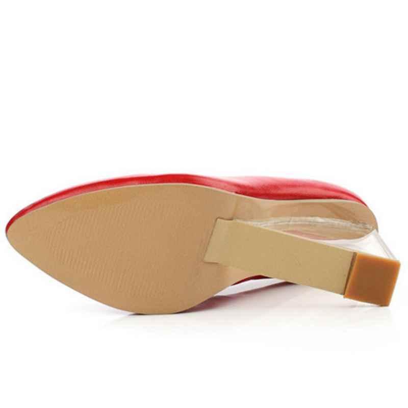 TAOFFEN Boyutu 33-42 Orijinal Amaçlı Seksi Kadın Pompaları Gerçek Deri Sivri Burun Takozlar Pompaları Moda Kadın Ayakkabı Kristal topuklu