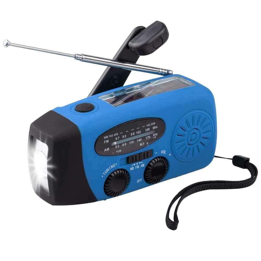5 イン 1 ポータブル FM ラジ自己 Am/FM/NOAA ソーラー緊急ラジオ 3 LED 懐中電灯と 1000 mah 電源銀行
