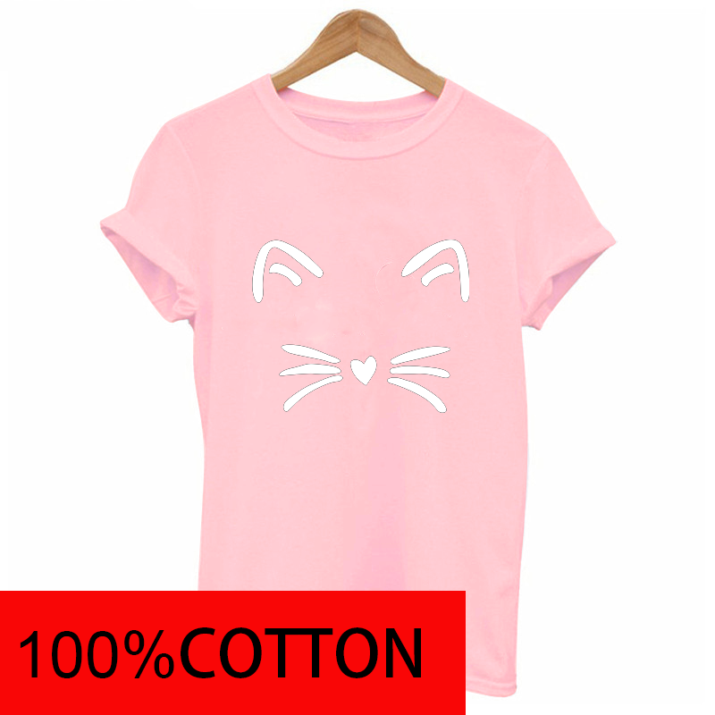 2019 new Cat Face beard funny print t shirts women 100%cotton Short sleeve top graphic Fashion casual female clothes Harajuku