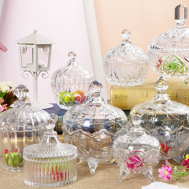 Super European style candy jar with cover glass thickening snack jars  CL59