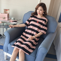 Maternity dress New striped pregnancy long t shirt for summer pregnant women and half sleeves plus size Tees