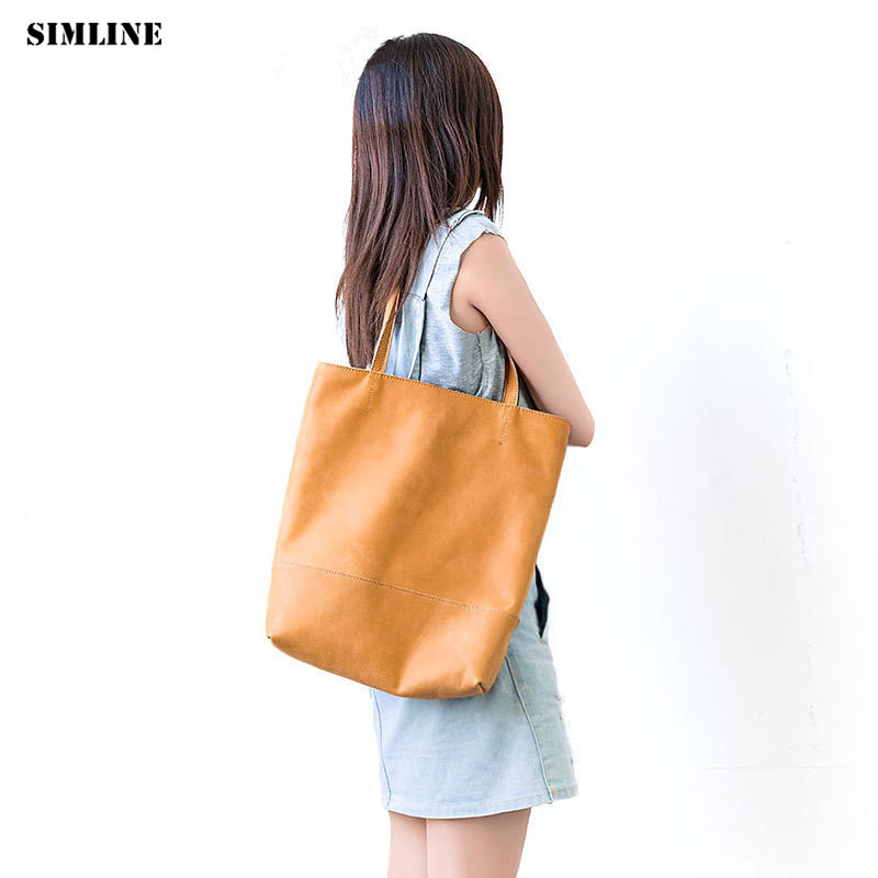 Brand Vintage Genuine Leather Tote Handbags Women Female Handbag Large Shoulder Bucket Bag Shopping Bags Casual Totes For Ladies