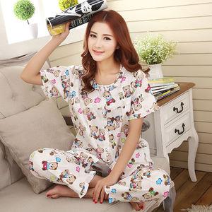 Image 2 - Pajamas Set Women Summer Mom Sexy Flower Cotton Pyjamas 2Piece/Set Long Pants Short Shirt Big Size Pregnant Home Mom Sleepwear