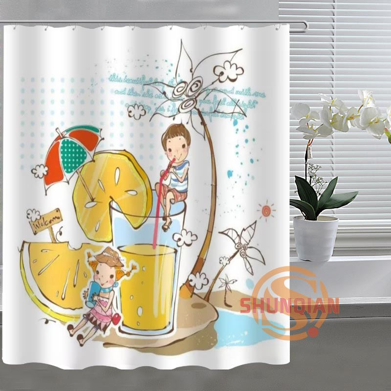 fruit juice Drinks Custom Shower Curtain Bathroom Fabric For Bathroom Decor Bathroom Curtain Acceptable Custom H03c26v57