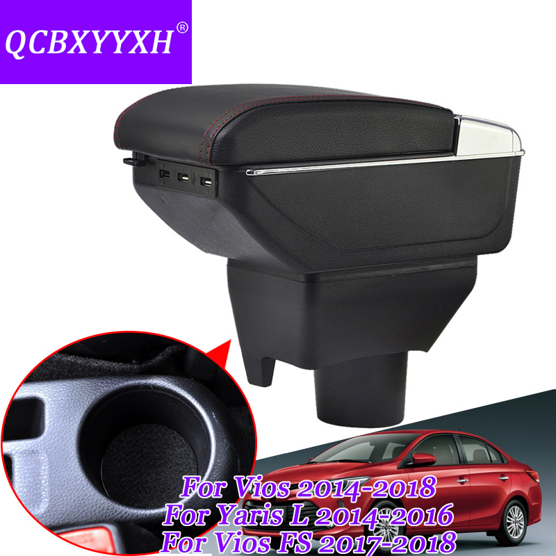 For Toyota Yaris L Vios FS 2014-2018 Armrest Central Store Content Storage Box With Cup Holder Ashtray ABS Leather Accessory qcbxyyxh for chevrolet sail 3 armrest central store content storage box with cup holder ashtray abs leather accessory 2015 2018