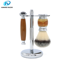 HAWARD RAZOR Agate Set Includes Double Sided Safety Razor Nylon Shaving Brush And Stainless Steel Bracket For Space Saving
