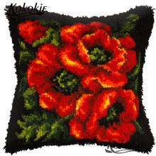 3d Bunga Sarung Bantal Bordir Kait Karpet Cross Stitch Needlework Set Percetakan Karpet Rajutan Patchwork Sarung Bantal(China)