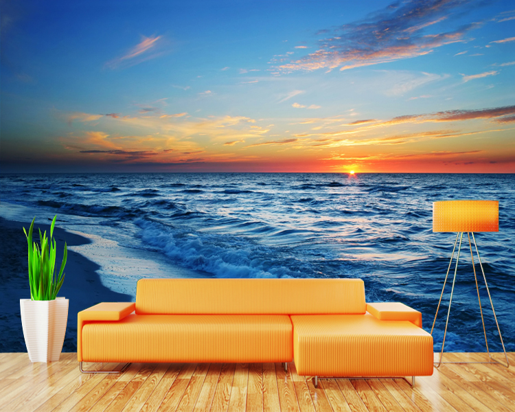 3D photo wallpaper 3D Blue sea waves beach living room bathroom hotel TV sofa background wall bedroom restaurant wallpaper mural free shipping basketball function restaurant background wall waterproof high quality stereo bedroom living room mural wallpaper