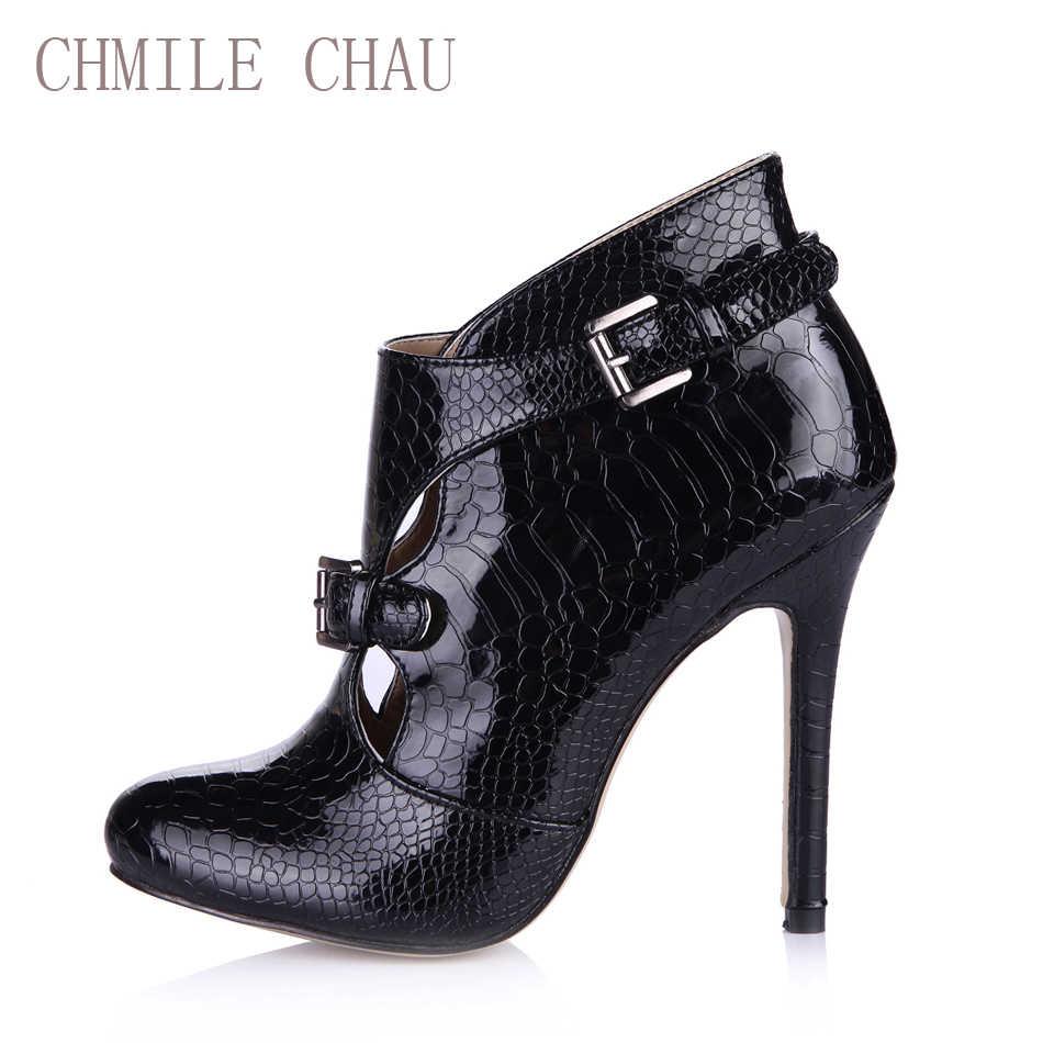 2016 Winter Black Snake Sexy Party Schuhe Frauen Stiletto High Heels Schnalle Damen Stiefeletten Zapatos Mujer Plus Größe 0640CBT-R1