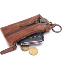 Noble Genuine Leather Keychain Men Women Key Holder Organizer Pouch Vintage Car Key Bag Wallet Housekeeper Keys Case Mini Bag