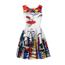 New fashion Kids Dress  Baby Girl cartoon printing Sleeveless Princess Dresses Cute children beach Casual Clothes