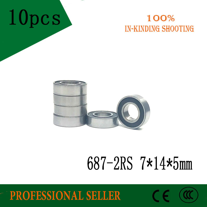 10pcs  687-2RS  Rubber Sealed Deep Groove Ball Bearing  687 687RS  7x14x5 Miniature Steel Ball Bearings  7*14*5 Mm