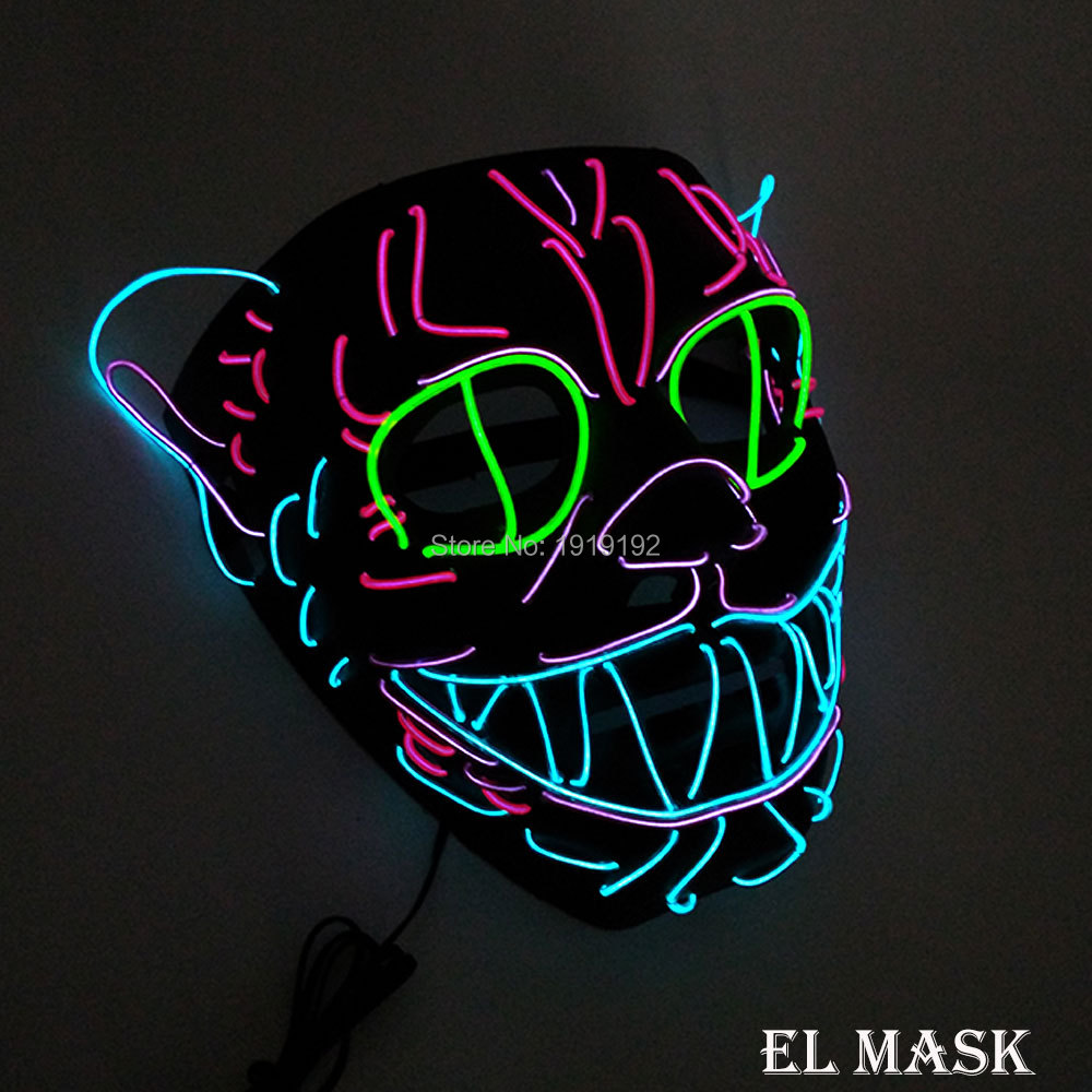 2017 Energy saving LED Neon Mask 10 Color optional el wire mask Powered by DC-3V Driver For Halloween Decor Free shipping