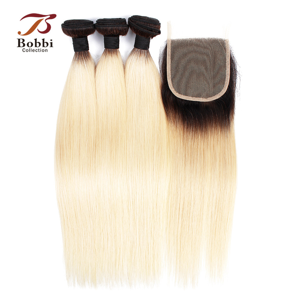 BOBBI COLLECTION T 1B 613 Dark Root Platinum Blonde Bundles With Closure Brazilian Straight Remy Human