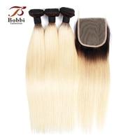 BOBBI COLLECTION T 1B 613 Dark Root Platinum Blonde Bundles With Closure Brazilian Straight Remy Human Hair 2/3 Bundle 10 28inch
