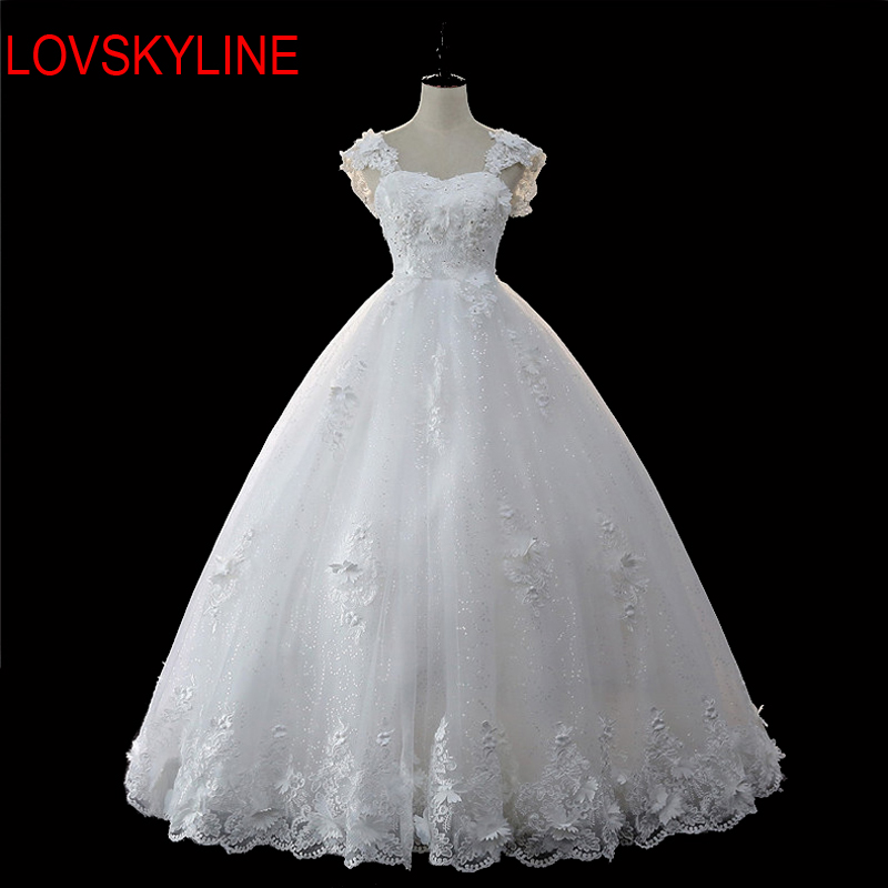 LOVSKYLINE 2018 Robe De Mariage Princess Bling Luxury Square Collar Beading Ball Gown Wedding Dress Custom