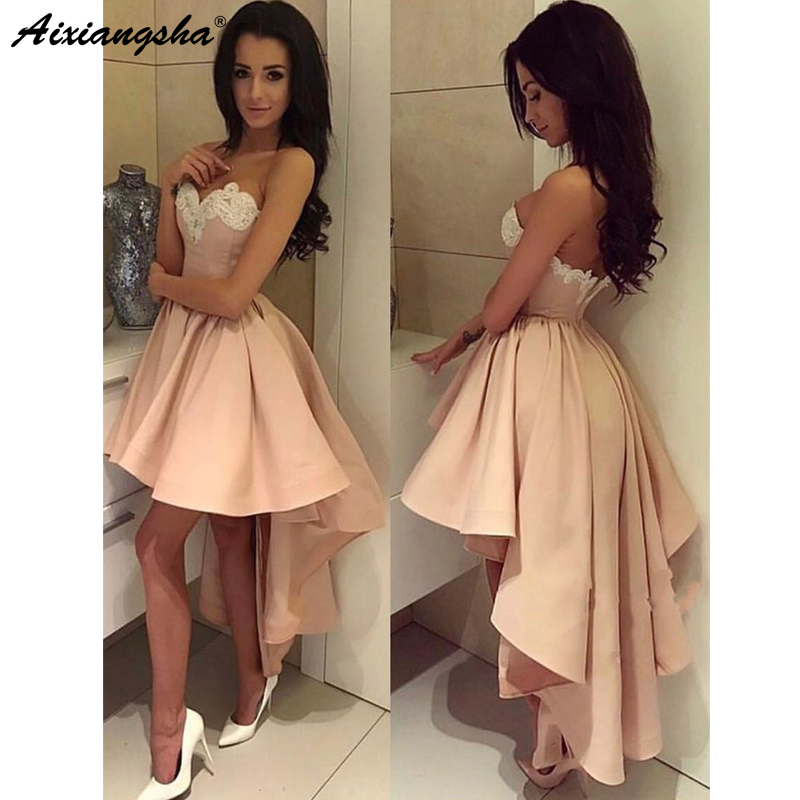 Custom Make Charming Sweetheart A Line Lace Short Prom Dress Blush Pink High Low Homecoming Dresses