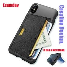 Esamday スリム Pu レザーケース iphone × ケース高級バックカバーカードスタンドホルダー財布クレジットカードポケット携帯電話バッグ