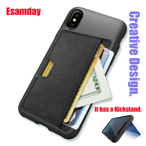 Image 1 - Esamday Slim PU Leather case for iPhone X Case Luxury Back Cover Card Stand Holder Wallet Credit Card Pocket mobile Phone Bag