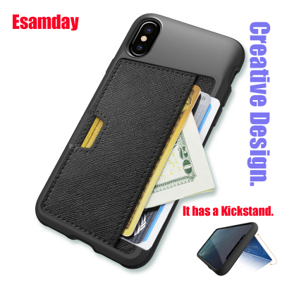 Esamday Slim PU Leather case for iPhone X Case Luxury Back Cover Card Stand Holder Wallet Credit Card Pocket mobile Phone Bag