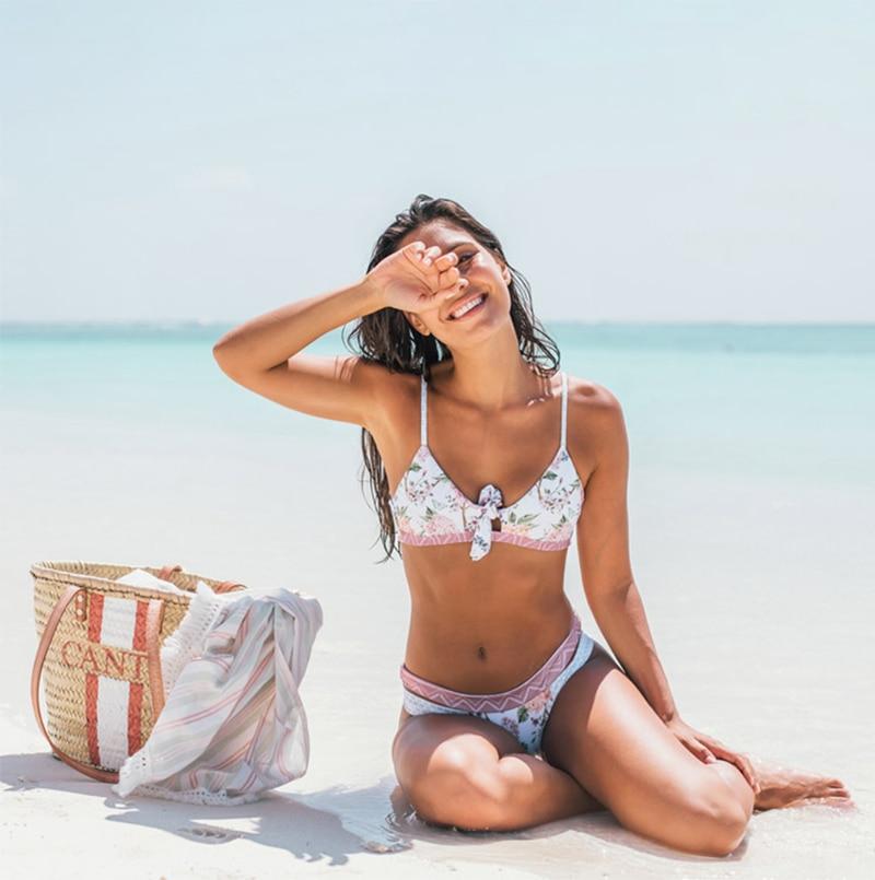 HTB1H4uCX4TpK1RjSZFMq6zG VXaX Miyouj Floral Bikini Bandage Bow Swimsuit Push Up Swimwear Women Print Biquini Feminino 2018 Bathing Suit Monokini Bikini Set