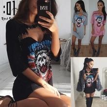 Women Skull Printed T-Shirt Dress Casual Choker V Neck Short Sleeve T Shirt Dress 2017 Summer Sexy Hollow Out Beach Club Dresses