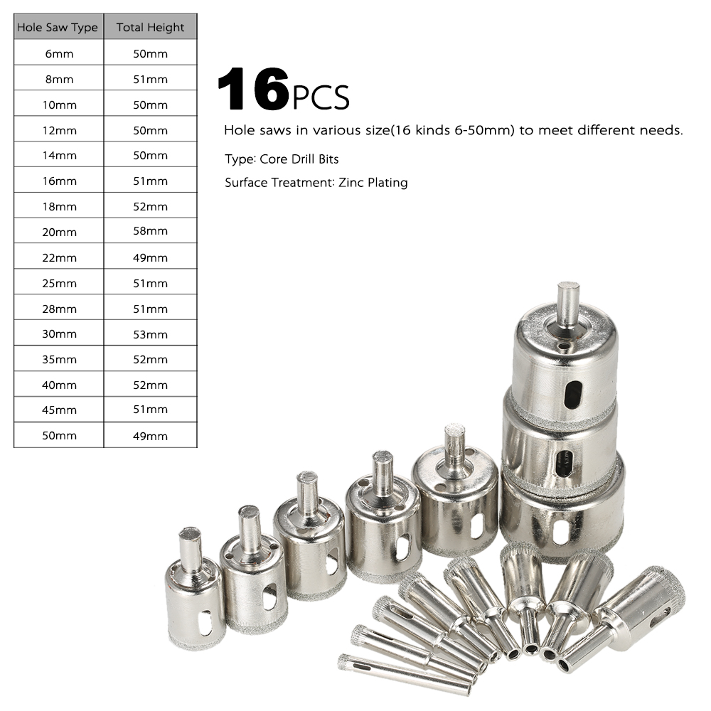 16PCS 6-50mm power tools Glass Hole Saw Kit diamond core bit for tile Marble Drill Bit set Tile Ceramic Glass Porcelain drilling jelbo cone step drill hole tools countersink 3pc drill bit set power tools step drill bit for metal power tools set hole cutter