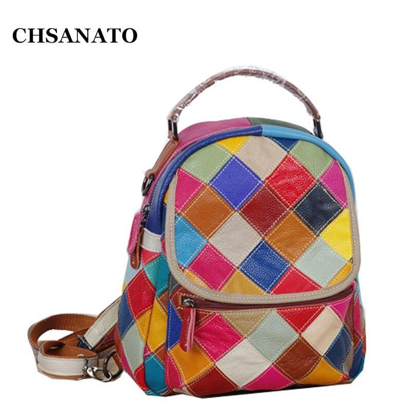 CHSANATO Elegant Ladies Multifunctional Colorful Plaid Women Travel Backpack Genuine Leather School Bags for Teenager Girls