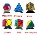 6 unids/set Shengshou Negro Strange-shape Conjunto Cubo Mágico Puzzle Giro Velocidad Paquete Paquete de Cubo de PVC y Mate Pegatinas Cubo Mágico Rompecabezas