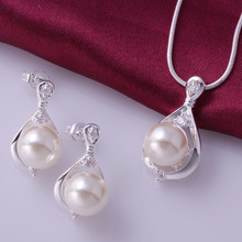 wholesale 925 sterling silver jewelry,925 silver fashion jewelry Crystal pearl necklace&earrings jewelry sets for women SS735(China)