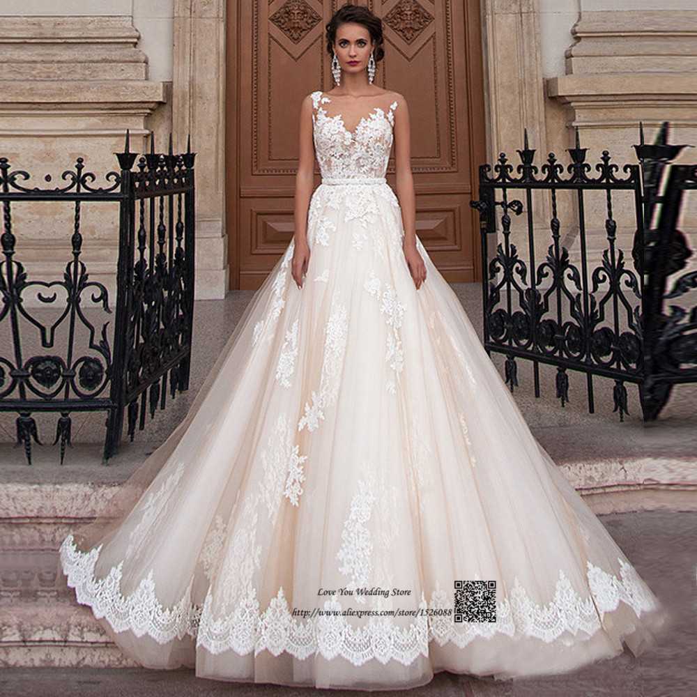 Champagne Lace Wedding Gown: Aliexpress.com : Buy Elegant Champagne Lace Arabic Wedding