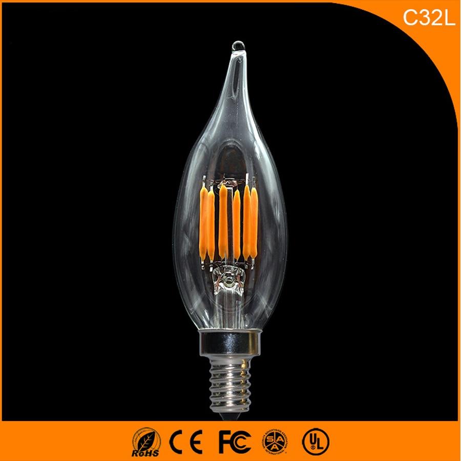 50 шт. 5 Вт E14 E12 светодиодные лампы, c32l светодиодные свечи накаливания лампы 360 градусов свет лампы Винтаж подвесные светильники AC220V