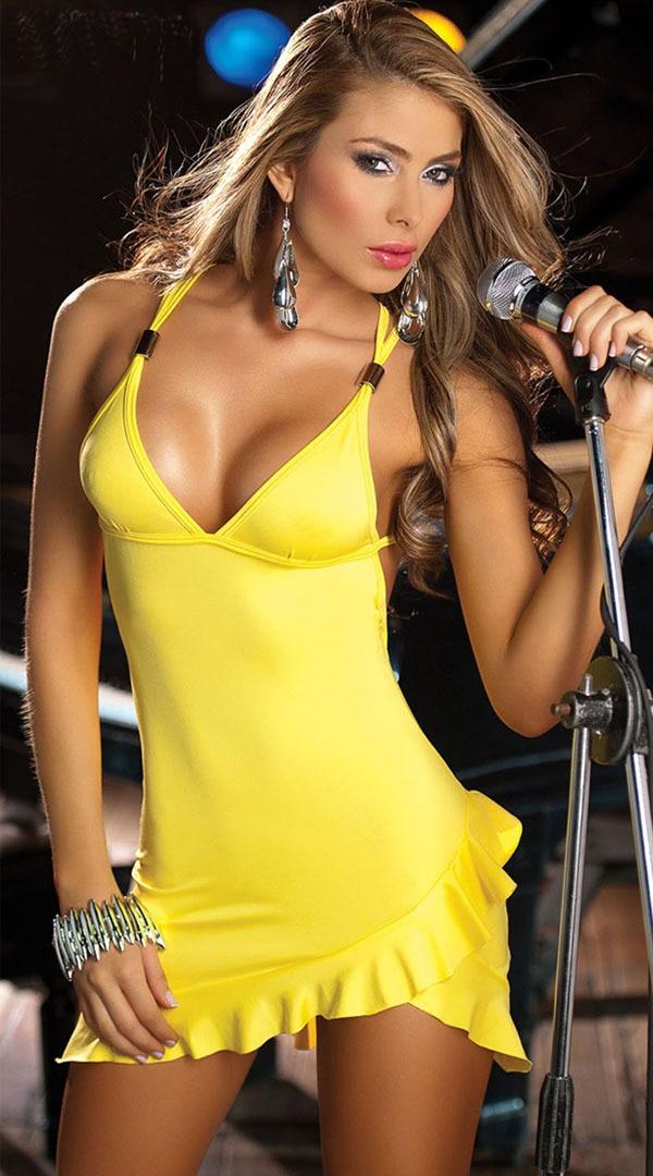 New Sexy Fashion Glamour Ženske Mini obleko G String Rumena Fit Velikost Xs S M L 017 Nightgowns-In-5732