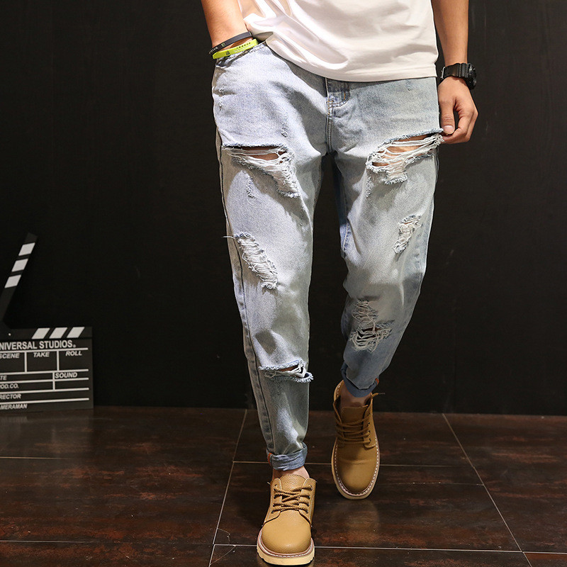 2018 New Fashion Harem Pants Loose Washed Hip-Hop Cross-Pants Jeans Ripped Holes Denim Trousers Streetwear Large Size